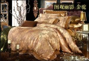 Gold Bedding Sets King Size Luxury Gold Camel Lace Satin Jacquard Bedding Set King