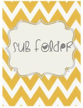 Cute Chevron Sub Folder Template Substitute Folder Students And Kindergarten Substitute Folder Template