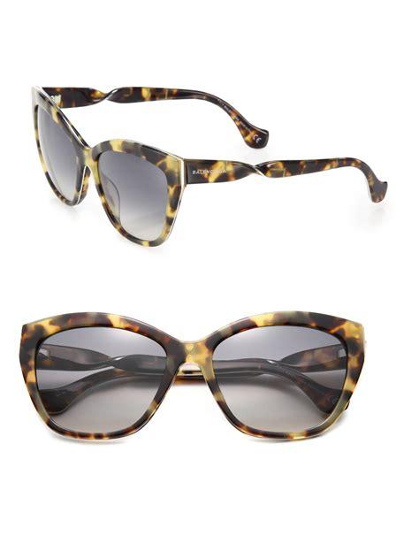 balenciaga 56mm cat s eye tortoise acetate sunglasses in brown brown tortoise lyst