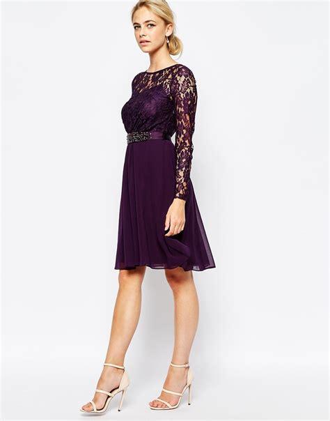 Grape Umbrella Dress lyst coast lori lace sleeved dress in purple