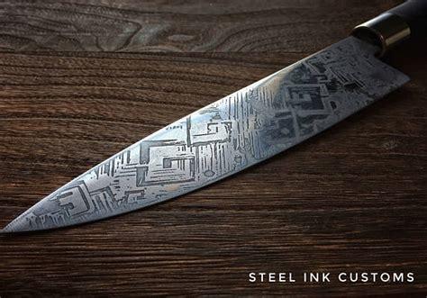 engraved kitchen knives engraved chefs knife japanese kitchen knife bismuth design