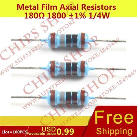 Resistor Metal Taiwan 180 Ohm 1 4 Watt 0 25w 1lot 100pcs metal axial resistors 180ohm 1800 1 1 4w 0 25w wattage1 4w electronic