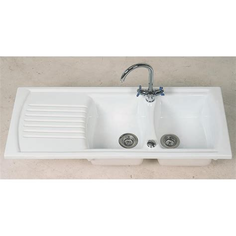White Sinks Kitchen Clearwater Sonnet Bowl And Drainer White Ceramic Inset Reversible Kitchen Sink So2db