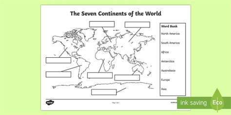 continents labelling worksheet worksheet
