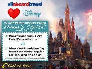 Disney Park Sweepstakes - all aboard travel loves disney sweepstakes cruisesource