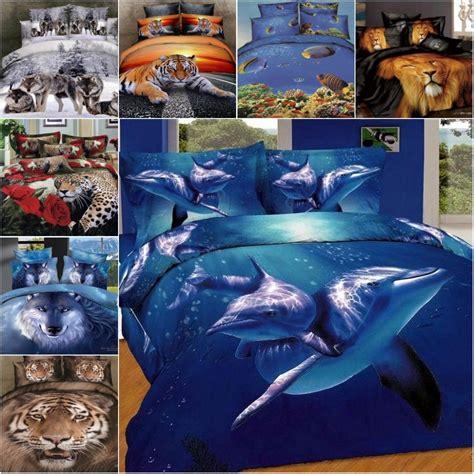 wolf bedding animal oil printing bedding set cotton 3d tiger horse wolf