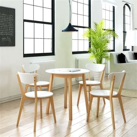 Set 1859 White 4 small table and 4 chairs birch wood bistro coffee dining set modern white ebay