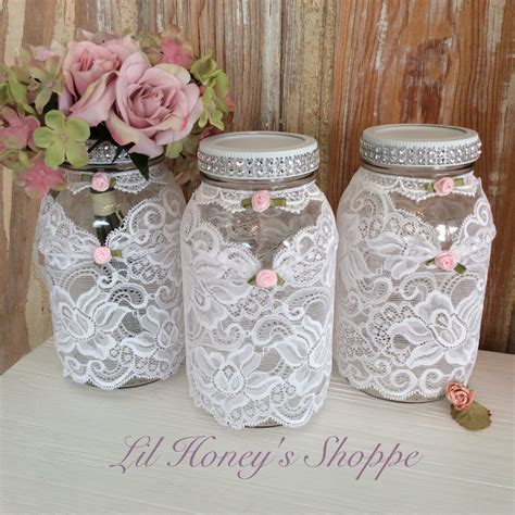 wedding mason jars shabby chic country lace sleeve with