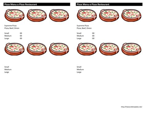 pizza menu template word pizza menu template free microsoft word templates