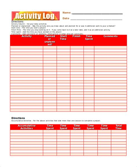 activity calendar template pdf activity log template 12 free word excel pdf