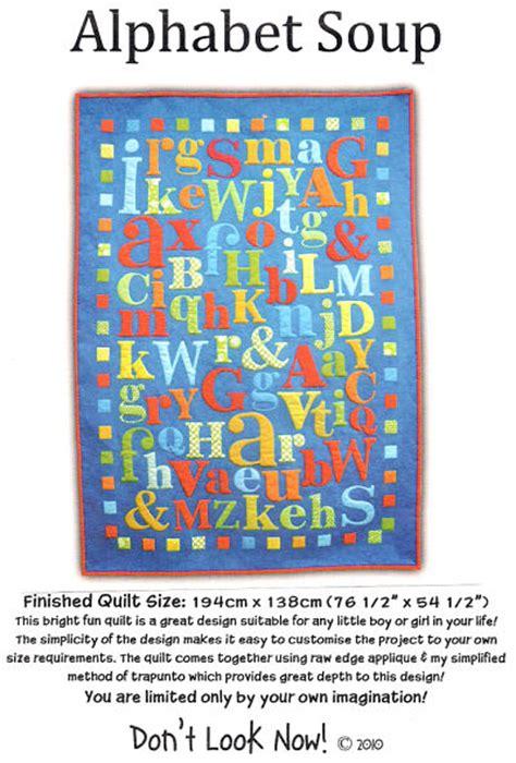 alphabet soup applique quilt pattern by don t look now
