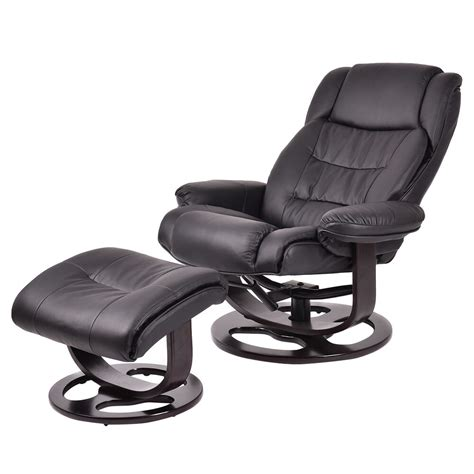 Leather Swivel Chair Recliner - new executive leisure recliner pu leather chair w ottoman