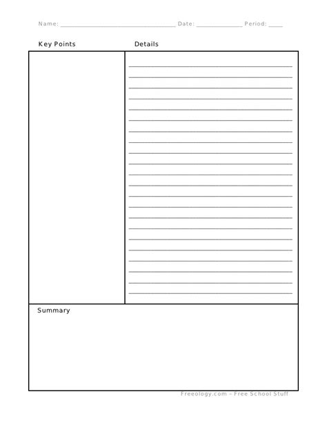 cornell note template cornell notes format
