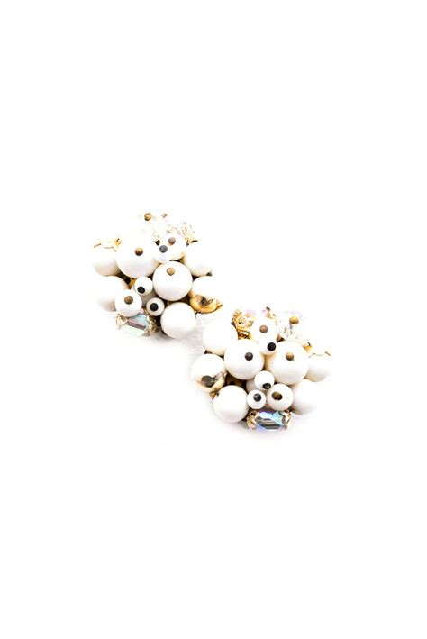 white cluster clip on earrings sweet spark
