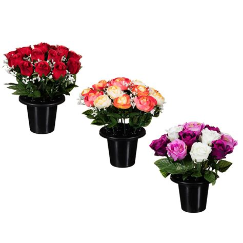 Plastic Cemetery Vases Floral Grave Pots 25cm Artificial Flowers Amp Plants