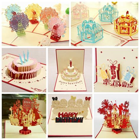 birthday cake popup card happy birthday kirigami free template aliexpress buy kirigami 3d pop up card for