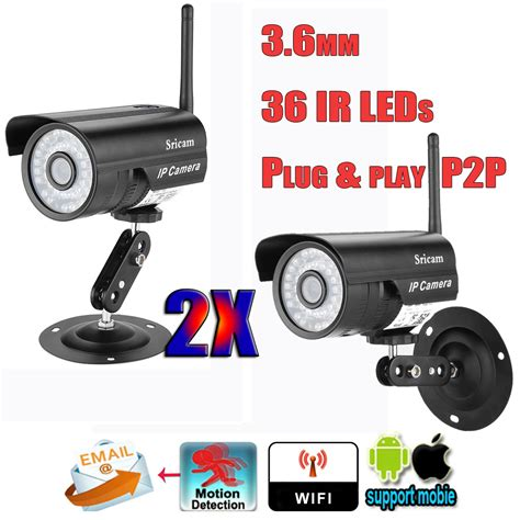 2x wifi wireless network cctv ip ir vision