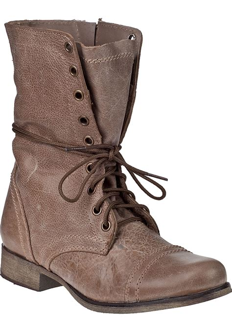 steve madden shoes for steve madden troopa lace up boot leather in brown lyst