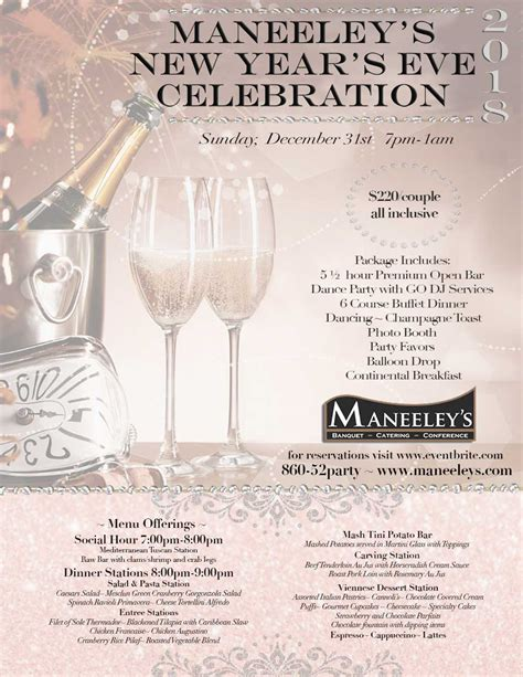 new year celebration pdf special events maneeley s banquet catering