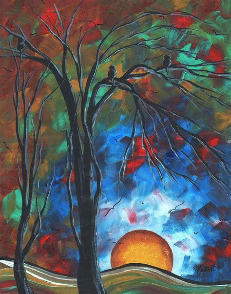 original abstract painting abstract original colorful bird painting