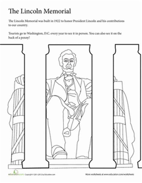 summer vacation coloring the lincoln memorial worksheet