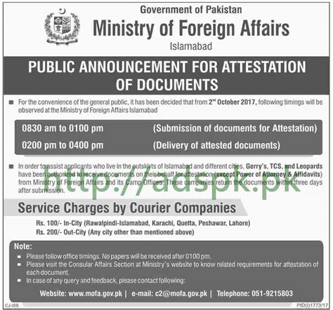 Mofa Jobs 2018 by Ministry Of Foreign Affairs Islamabad Mofa Documents