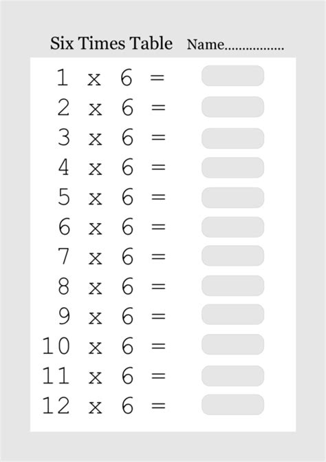 6 Times Tables by Printable Times Tables From 1 To 12 What Answered