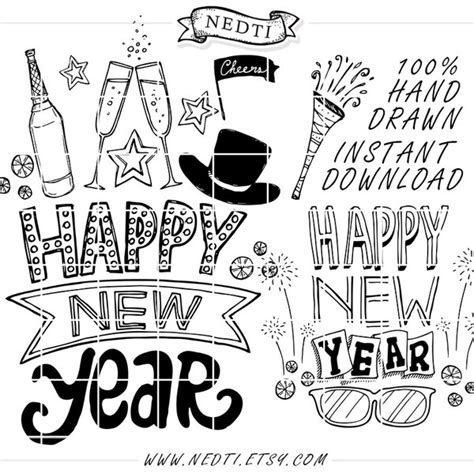 Happy New Year Doodle Lineart Set By Nedti By Nedti On