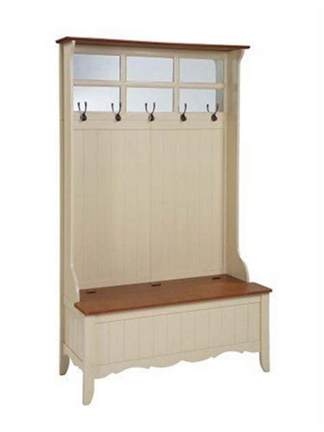 hall tree with storage bench furniture powell french country hall tree with storage bench maple