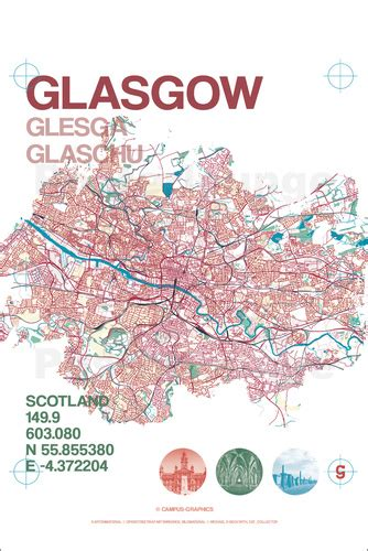 libro glasgow mapping the city cus graphics glasgow city map poster posterlounge