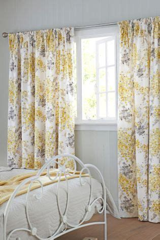 grey and yellow curtains uk ochre watercolour floral pencil pleat lined curtains pale