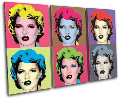 Warhol Vs Banksy Exhibition Features Kate Moss Image by Warhol Kate Moss Banksy Painting Treble Canvas Wall