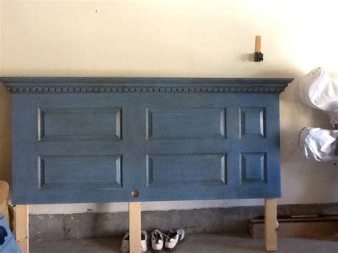 Turn Door Into Headboard Turn An 6 Panel Door Into A King Headboard With Chalkpaint Wax And Some Crown Moulding