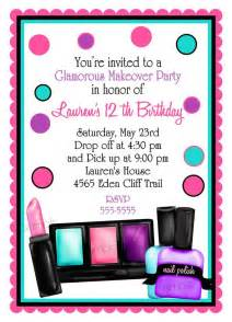 make up birthday invitations make up makeover