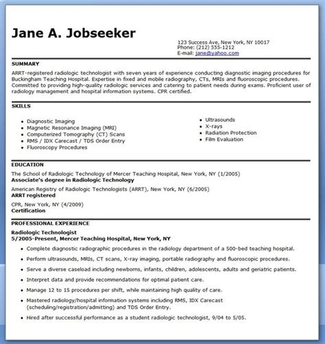 Cover Letter For Radiographer by Sle Resume For Radiographer Creative Resume Design