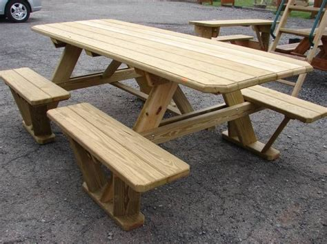 wooden  split bench picnic table attached bench picnic