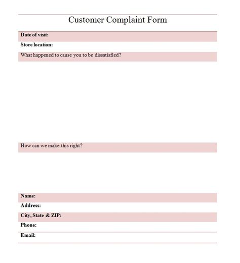 customer complaint form template customer complaint form template best word templates