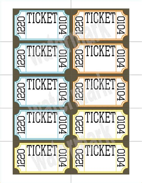 printable tickets pdf 9 printable raffle tickets academic resume template