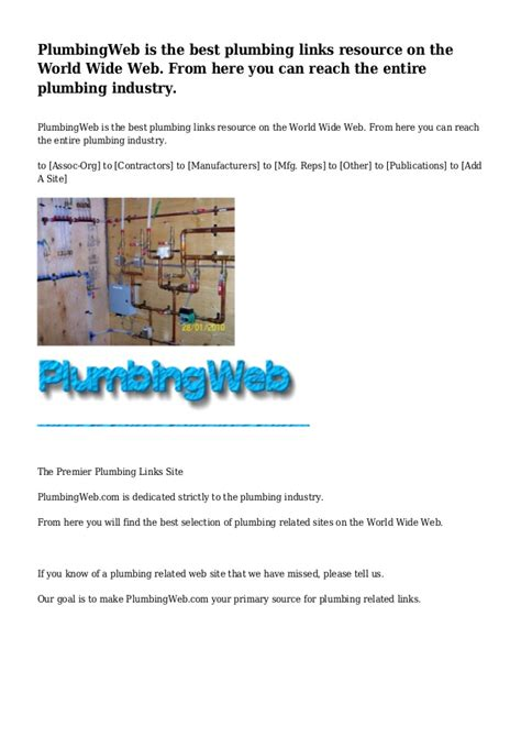 plumbingweb is the best plumbing links resource on the