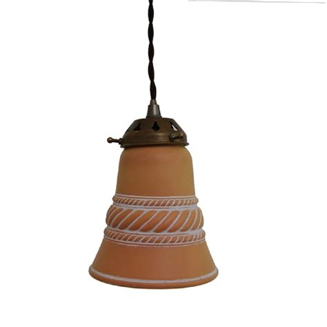 Bell Pendant Light Terracotta Bell Shaped Pendant Light Shade Hanging On Braided Cable