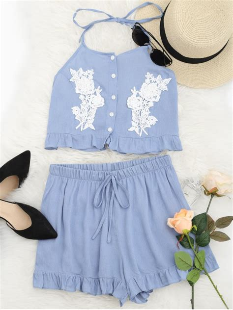 Dress Set Cloudy halter lace panel top and shorts set cloudy two