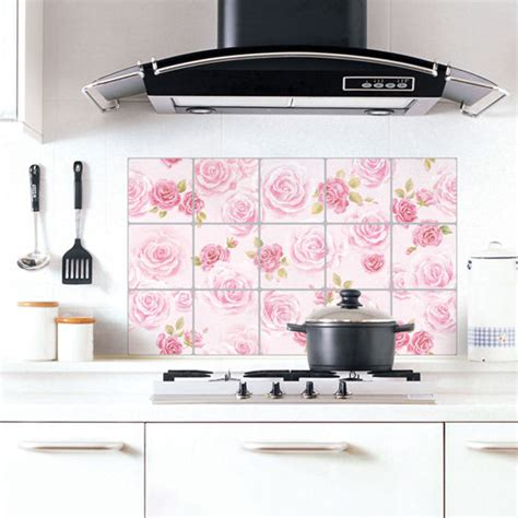 Adhesive Kitchen Backsplash Aluminum Foil Pink Tiles Self Adhesive Wallpaper For Kitchen Backsplash Cabinets Ebay