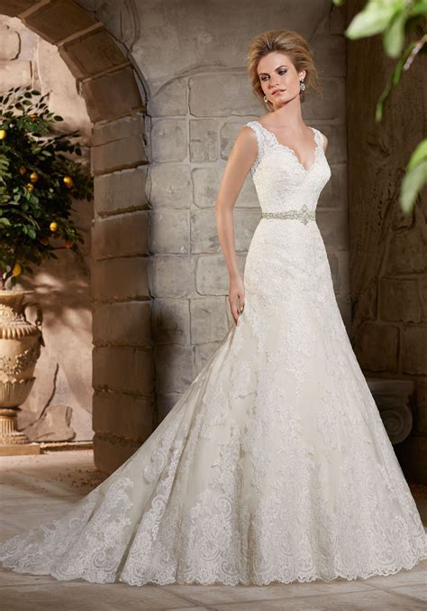 Lace Appliques on Net and Lace Wedding Dress   Style 2783