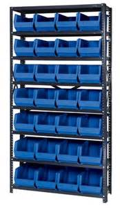 Shelving For Storage Bins Steel Shelving Unit Amp Plastic Storage Bins Qsbu 240 12