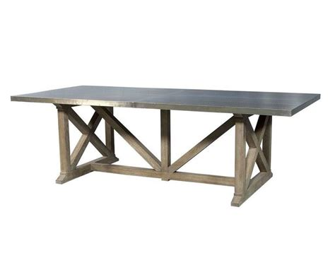 industrial rustic metal top dining table for sale at 1stdibs