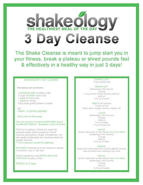 3 Day Fruit Detox Diet Menu by Mcclain Fitness Shakeology Cleanse Jumpstart Your