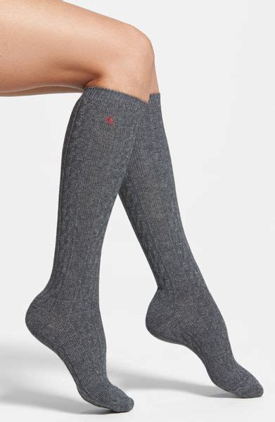 cable knit knee high socks ralph cable knit knee high socks in gray flannel