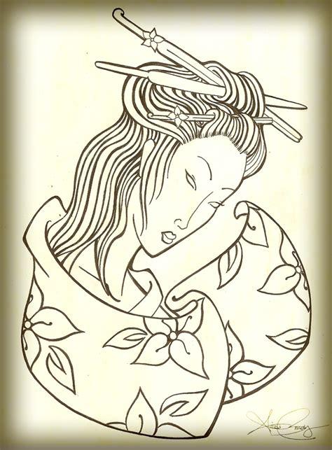 geisha tattoo outline geisha outline