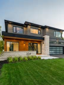 Home Exterior Design Photo Gallery gray two story mixed siding exterior in toronto with a flat roof