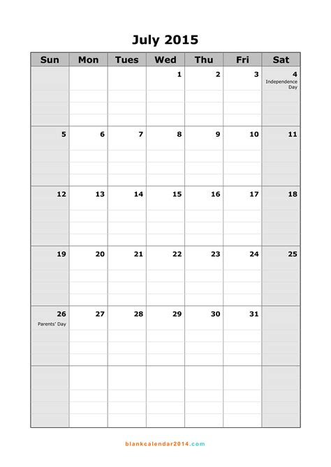printable monthly calendar for july 2015 7 best images of calendar july 2015 printable free